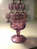 "Vintage 10 AMETHYST KING'S CROWN THUMBPRINT 4.5"" JUICE GLASS INDIANA GLASSWARE"
