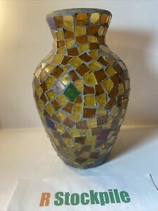 Pier 1 Mosaic Vase Yellow And Brown.