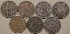 Hungary 7 One Krajczar 1881,82,85,86,87,88,+92 Most are Better Circulated Grades