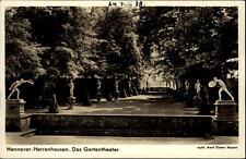 Hannover Herrenhausen Postkarte 1938 Blick auf das Garten Theater Statuen Bäume