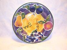 "Hand Painted Scandicci Fruit Glaze Ceramic 8"" Salad Plate Purple Blue Gold Green"