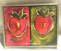 Vintage Hallmark Playing Cards 2  Decks Green Red Fruit Apple Swap