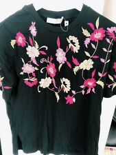 NEW Women Lady ASOS Black Short Sleeves Embroidery Flower Floral T Shirt Tops