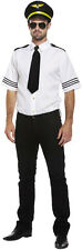 M/L Mens Airline Aeroplane Pilot Outfit Shirt Hat Black Tie Fancy Dress Costume