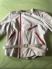 Bikerjacke Retro weiß rot Größe 46 maßgeschneidert Lederjacke Echtleder