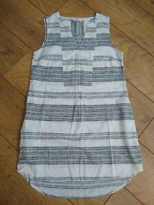 Fat Face Stripe Short Dress Tunic UK 8 Cotton Sleeveless Summer Pockets VGC