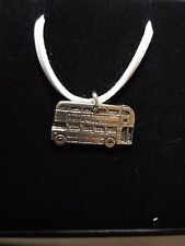 """Double Decker Bus Fine English Pewter On 18"""" White Cord Necklace codew28"""