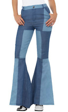 Ladies 70s Deluxe Blue Flared Trousers Patchwork Denim - S/M/L