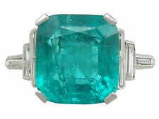5.00 ct Colombian Emerald and 0.46 ct Diamond, Platinum Dress Ring - Antique