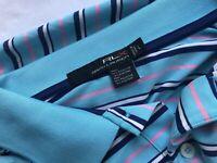 Mens Ralph Lauren RLX Striped Blue Golf Polo Top Shirt size L Large