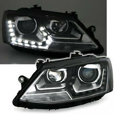 BLACK clear finish headlight set front lights for VW JETTA with LED DRL