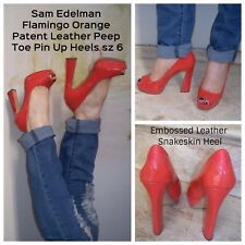 d8055122fff45 Sam Edelman Pin Up Flamingo Orange Tacoma Patent Leather Peep Toe Heels 6 M