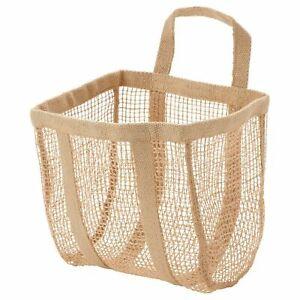 New Ikea LUSTIGKURRE Basket Natural Jute Storage Organiser & Hanging 25x20x33 cm