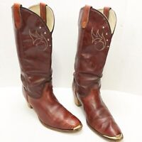 Justin Cowboy Boots 6 Leather Womens Size 6 B Cowgirl Western Boho Ropers VTG