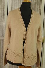 "PAUL COSTELLOE Open-Front Cardigan 39"" Bust Lambswool Angora Bobble Knit Sweater"