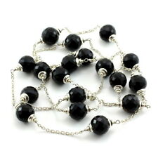 Necklace natural black onyx faceted gemstone beaded 925 sterling silver 32 grams