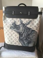 Auth New Louis Vuitton Chapman Brothers White Rhino Steamer Backpack Bag