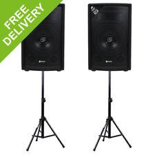 """2x Skytec 8"""" PA Speakers + 2x Speaker Stands Party Disco DJ Sound System 800W"""
