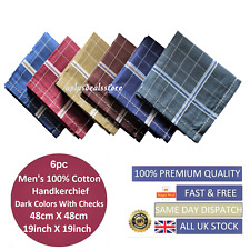 100% Cotton Mens Gents Handkerchiefs Hankies Large 6pcs Dark Colour 48cm(19inch)