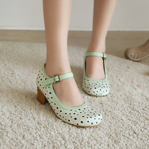 Retro Womens Polka Dot Mary Janes Ankle Buckle Chunky Mid Heels Round Toe Shoes