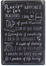 "NEW HANGING METAL WALL SIGN ""RECIPE FOR HAPPINESS"" SMILES FAMILY HAPPINESS BLACK"