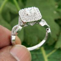 1.64 Ct Princess Diamond 14k Real White Gold Halo Infinity Engagement Ring