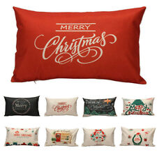 Christmas Xmas Linen Cushion Cover Throw Pillow Case Home Decor Festive Gift