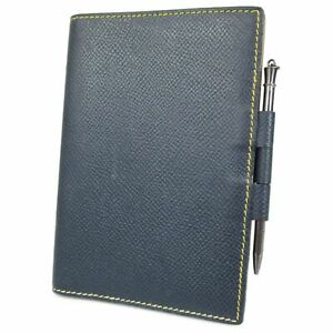 Auth HERMES Couchevel Leather Mini Agenda Cover Daily Planner Navy 19676bkac