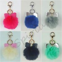 SPIRIUS Faux Fur Pompom Ball  Keyring with Bow Accessory Bag Car  Phone Pendant