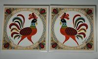 """2 Vintage Berggren Tile Trivet 6"""" Morgon Stund Afton Stund Rooster Wall Tile"""