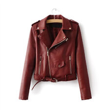Stylish Women's Autumn PU Leather Biker Jacket Coat Short Punk Motorcycle Jacket
