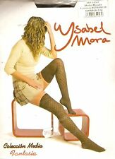 Bas Top Ysabel Mora - Col Marron Effet Croisillons - Taille Unique - Extensible.