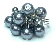 SILVER PEARL COCKTAIL ring Czech glass gunmetal silver pearls cluster ring state