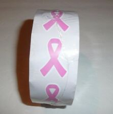 Breast Cancer Awareness Pink Ribbon Roll Stickers 500 stickers 1 1/2""