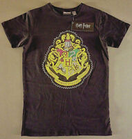 Harry Potter Damen T-Shirt Hogwarts Wappen 36-46 XS S M L XL Schwarz Kurzarm Neu