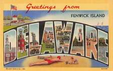 Fenwick Island Delaware Greetings From large letter linen antique pc Z43945