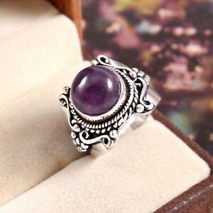 925 Sterling Silver Handmade Jewelry Amethyst Gemstone Ring Size 6