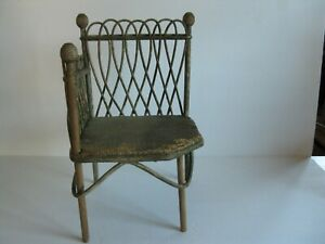 Antique Doll or Bear Wicker Stick and Ball Corner Chair Beehive Finials