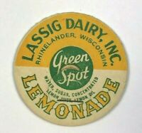 Lassig Dairy Rhinelander WI Wisconsin Green Spot Lemonade VTG Milk Bottle Cap