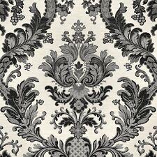Goodwood Black Damask Wallpaper on Light Grey Textured Heavy Vinyl JC1007-8