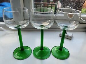 3 Vintage Luminarc France Tall Green Stem Brandy Glasses French