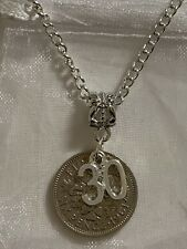 Personalised initial Lucky Sixpence Breloque Collier En Sac Cadeau