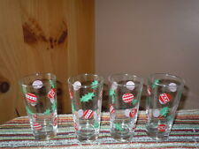 VINTAGE CHRISTMAS MOD DRINKING GLASSES SET OF 4 CHRISMAS BALLS HOLLY LEAVES