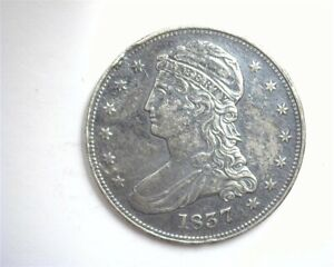 1837 CAPPED BUST SILVER 50 CENTS ABOUT UNCIRCULATED REEDED EDGE