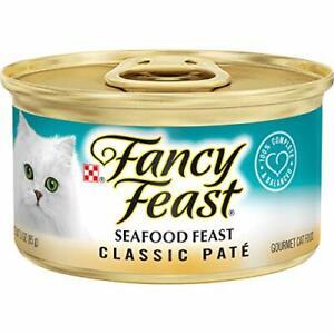 Purina Fancy Feast Grain Free Pate Wet Cat Food Classic Pate Seafood Feast - ...
