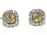 VS1 Cushion Fancy Yellow Canary Diamond Stud Halo Earrings 18K White Gold 1.87Ct