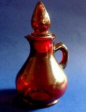 Vintage Avon Glass Bottle Strawberry Bath Foam 4oz Ruby Red Cruet Stopper 5""