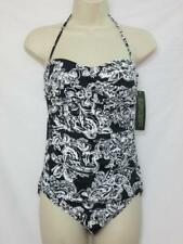 NWT Ralph Lauren Convertible One Piece Swimsuit Black & White Floral Size 6