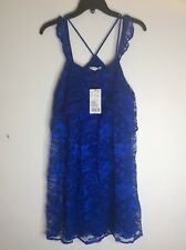 Mango MNG Suit Lace Blue Babydoll Boho Chic Dress Racerback Party Festival Sz 4