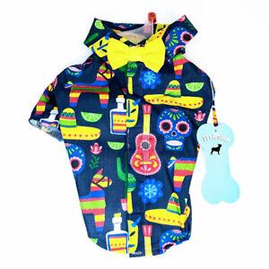 "Pet Fashion ""Fiesta"" Dog Apparel Shirt Pinata, Mariachi Hat, Skulls"